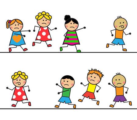 漫画の男の子女の子漫画の男の子が女の子を追いかけて後に実行  イラスト・ベクター素材