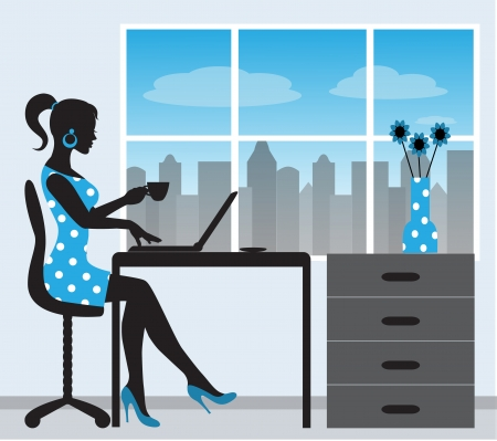 girl laptop:   silhouette of a woman with a laptop on the background of a window Illustration