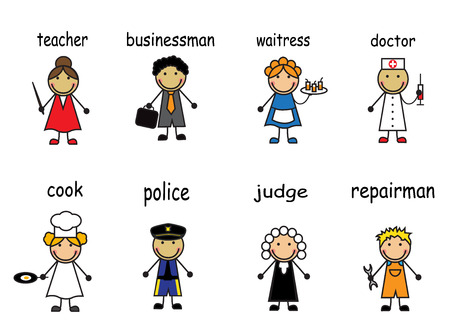 female cop: Cartoon people of various professions on a white background with captions
