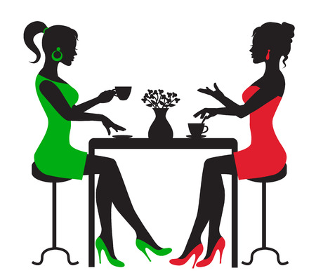 白い背景の上のテーブルでコーヒーを飲んで 2 人の女性をシルエットします。  イラスト・ベクター素材