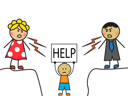 resentment: Cartoon parents scolded child, the child stands with a sign  HELP  Illustration
