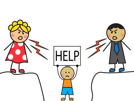 maltrato infantil: Los padres de la historieta rega�aron ni�o, el ni�o se encuentra con una muestra de la ayuda