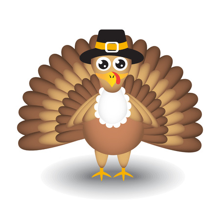 Cartoon turkey on white background for Thanksgiving Day