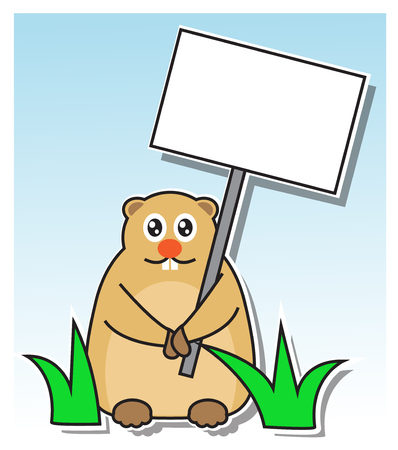 marmot in the grass holding a sign in his paws Vector