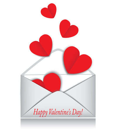 red valentine hearts open envelope on white background Vector
