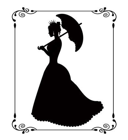 black lady: princess silhouette with umbrella patterned retro frame on a white background