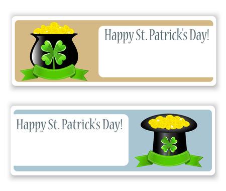 st patrick s day: Striscioni vettore con il cappello, i soldi, pentola e quattro foglie di trifoglio per St Patrick s Day