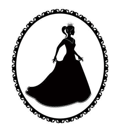 black silhouette of a princess in a long dress and retro frame Stock Vector - 24638139