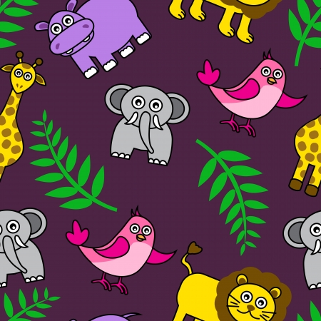 seamless purple with dark Cartoon animals and palm leaves Vector