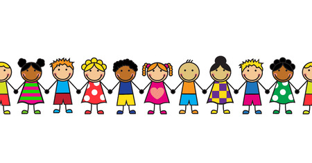character of people: horizontal seamless Cartoon children standing in a row