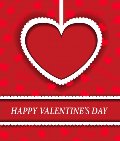 valentine's: red background with a paper heart for Valentine s Day