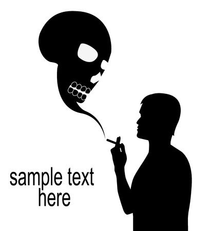 Silhouette of male smokers and the skull of a smoke on a white background Stock Vector - 24753867