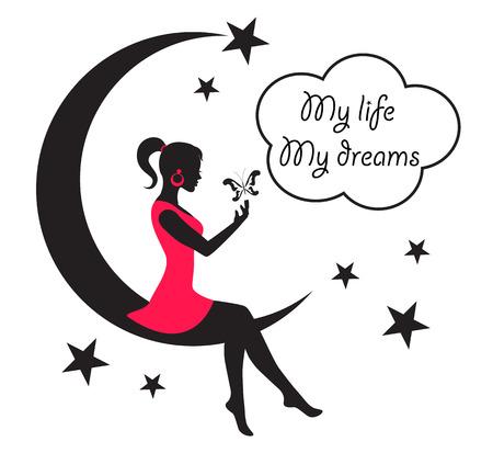 girl illustration: mujer sentada en la luna entre las estrellas y las nubes