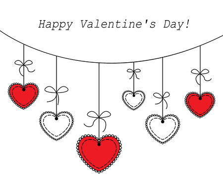 vector illustration Heart hanging on a white background Vector