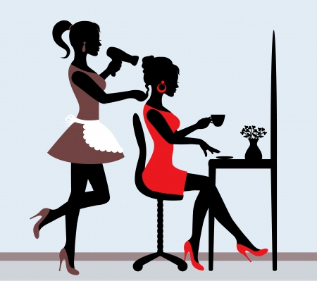 cartoon hairdresser: female silhouette in hairdressing salon  Hairdresser makes hair styling for client