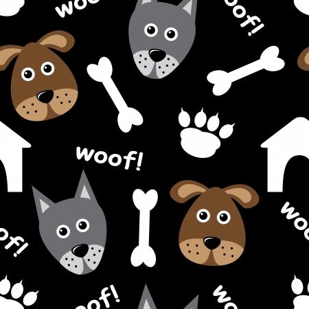 Cartoon nahtlose Muster mit Hunden und Hundezubehör