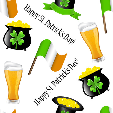 seamless pattern for St  Patrick s Day with a beer mug, hat, money, the boiler and the Irish flag  Vector