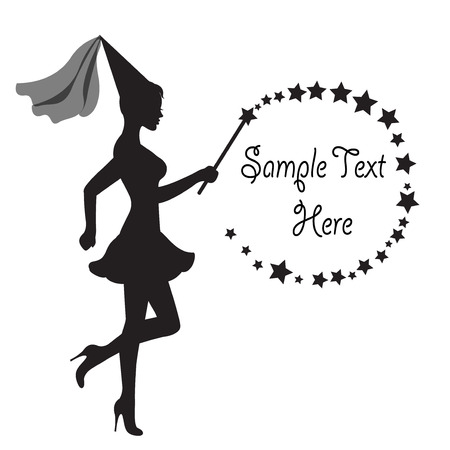 graceful silhouette of a fairy with a magic wand in hand and frame of Stars