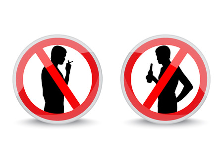 red signs with smoking and drinking silhouettes prohibiting smoking and drinking alcohol Vector