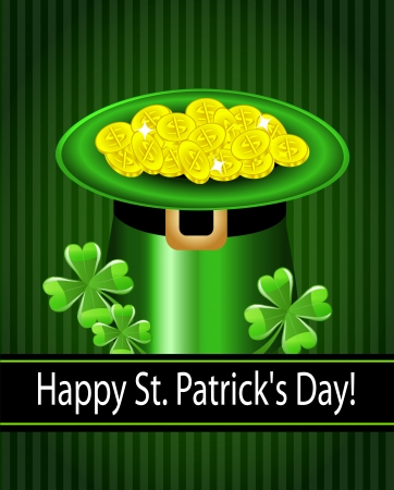 patrick's: Green St  Patrick s Day hat with clover and coins  Vector illustration