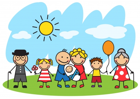 Cartoon big family standing on a lawn on a background of blue sky and sun