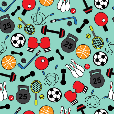 Seamless background with different exercise equipment and accessories   Vector