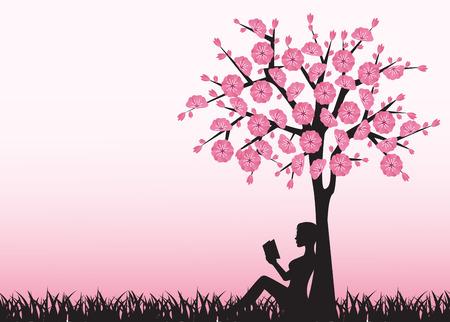 silhouet van de vrouw het lezen van een boek en zitten onder een boom Stock Illustratie