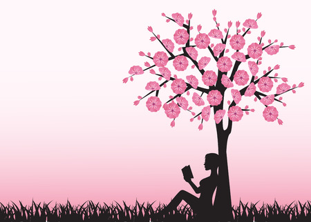 silhouette of woman reading a book and sitting under a tree Vector
