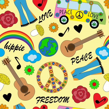 peace graphics: seamless background with bright accessories, clothing and hippie signs
