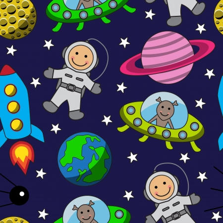 Cartoon seamless space with an astronaut  planets, stars and rocket
