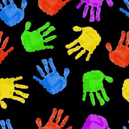 handprints: Seamless dark background with bright colored handprints   Illustration