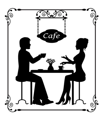 silhouettes of a loving couple in a cafe and vintage frame Vector