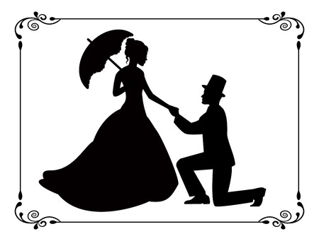 beautiful black woman: silhouettes of woman in a long dress and a man kneeling  Silhouettes in retro frame   Illustration