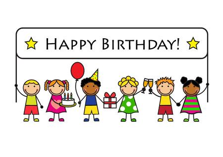 Enfants de bande dessinée avec des cadeaux et des affiches d'anniversaire