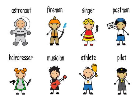 Cartoon set of people of different professions Illustration