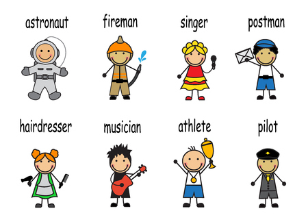 service occupation:   Cartoon set of people of different professions Illustration