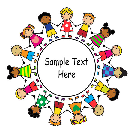 girotondo bambini: Cartone animato con bambini in piedi in un cerchio Vettoriali