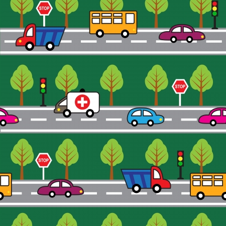 mode: Cartoon seamless pattern with cars, trees, roads and road signs