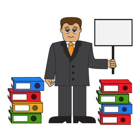 bála: Cartoon fáradt üzletember egy tablettát, és a bála mappák
