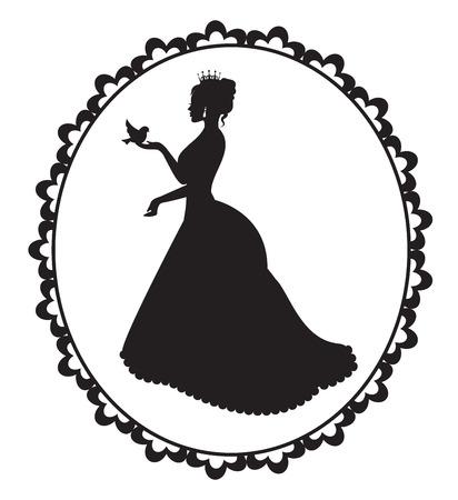 silueta de la princesa con un pequeño pájaro en un marco de la vendimia