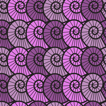 textile image:   seamless lilac background with spiral shells of different colors