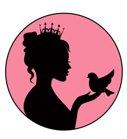 Prinses met een vogeltje in de palm Stock Illustratie