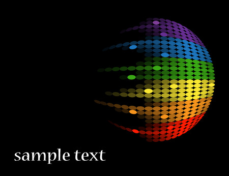 Black background with bright multi-colored circular equalizer