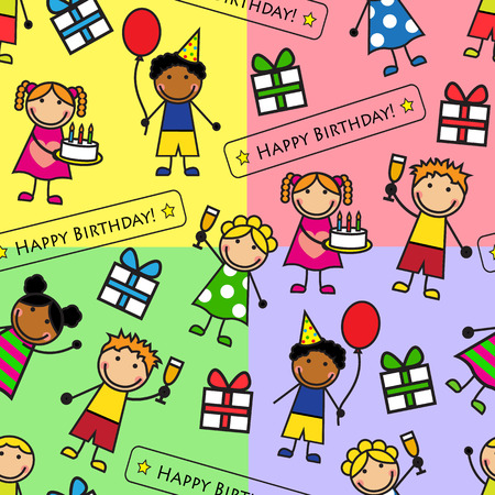 Cartoon seamless pattern with gifts, kids at a birthday party Vector