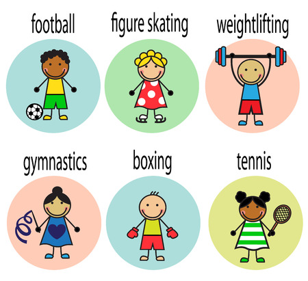 Set Cartoon cheerful athletes of different nationalities with captions Vector