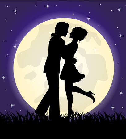 silhouettes of a loving couple standing in front of the moon and the sky Vector
