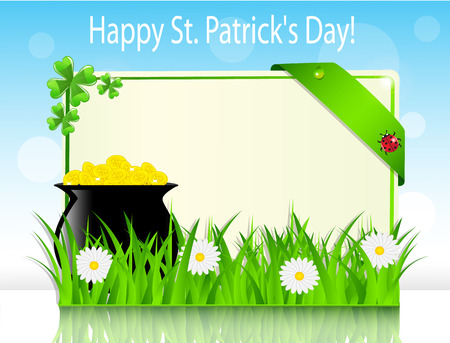 Poster holiday St  Patrick s Day with a boiler with coins on grass Vector