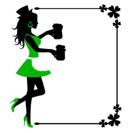 female silhouette with beer mugs and frame with clover on white background Vector