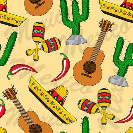seamless background with Mexican sombreros, guitars, maracas and cacti Vector