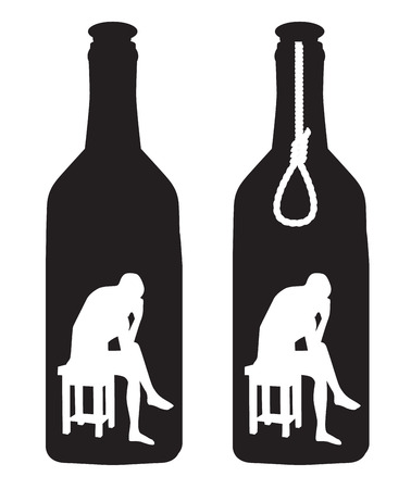 silhouette of a man in a bottle and rope loop   Vector